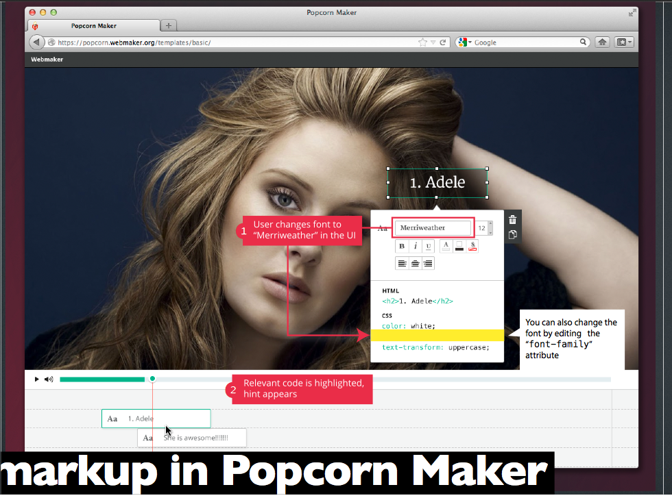 Markup in Popcorn Maker