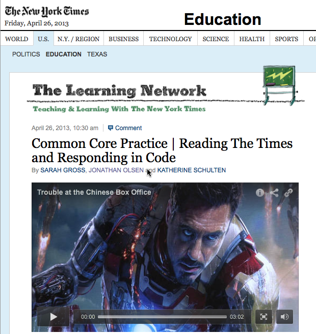 The NYT -- Common Core