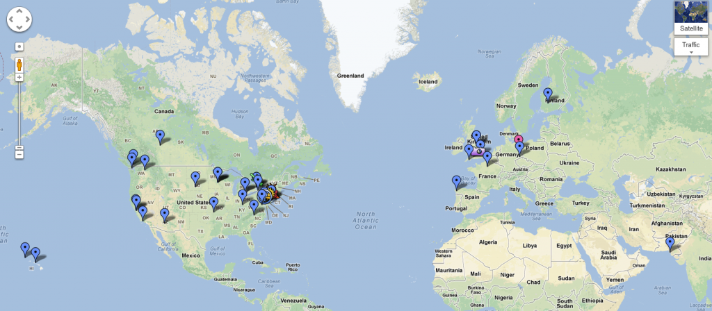 A few of the x MOOC participants adding themselves to a global map